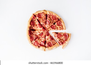 flat lay pepperoni pizza isolated on white