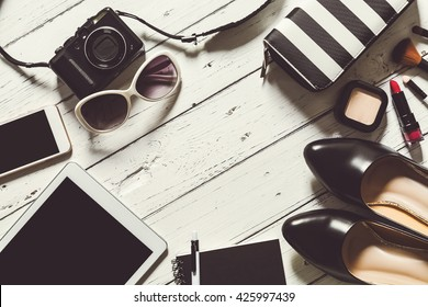 Flat lay photography with cosmetics and essential items for woman, Overhead view of essential beauty of summer