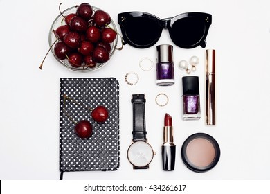 Flat lay photography essential accessories for woman. Overhead view of beauty items