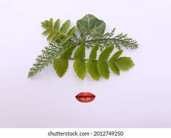 Flat lay photography. Frida Kahlo face abstract representation with leaves. Mexican artist painter. Abstract concept. - Shutterstock ID 2012749250