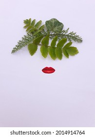 Flat lay photography. Frida Kahlo face abstract representation with leaves. Mexican artist painter. Abstract concept. - Shutterstock ID 2014914764