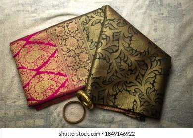 Flat lay picture of a banarasi saree