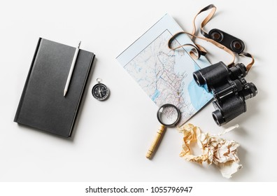 Flat lay. Preparation for travel. Tourist devices.