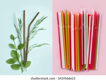 Flat lay reusable stainless steel straws with leaves of plants on a blue background and disposable plastic straws on a pink background. Sustainable lifestyle and zero waste concept, plastic free
