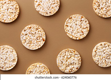 Flat lay rice cake pattern on a natural background. Top view