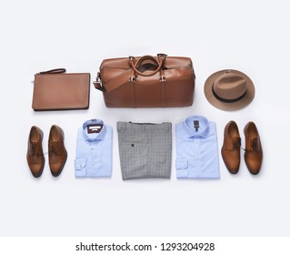 ,Flat lay set of classic men`s fashion clothes and accessories . Top view