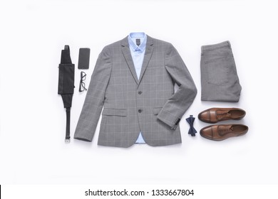Flat lay set of classic men`s fashion clothes and accessories . Top view
