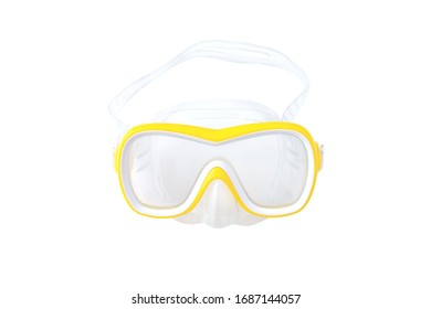 flat lay shot of yellow diving mask isolated on white background