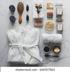 Flat lay of spa treatment set
