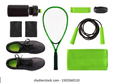 Flat lay of sport accessories and equipment for training. Running shoes, tennis racket, jump rope etc. isolated on white background