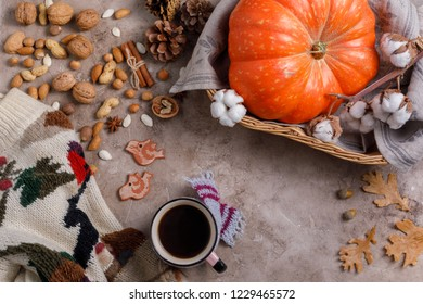 Flat lay style of autumn and with coffee, pumpkins and cinnamon sticks on pastel color, top view.