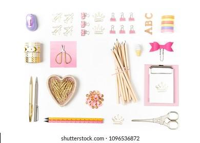Flat lay stylish set: Clipboard mockup, washi tape, note on white background. School stationery. Back to school concept.
