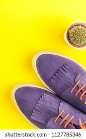 Flat lay of suede shoes, cactus on bold yellow paper background with copy space. Overhead view of woman casual outfit. Trendy hipster look top view