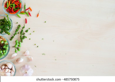 Flat lay of Thai herbal with wood background