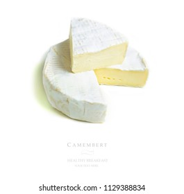 Flat lay, top camembert cheese on isolated white background. Seamless pattern with camembert cheese abstract background. Concept of space for text, your text here.