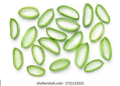 Flat lay (Top view) of Aloe vera sliced isolated on white background.