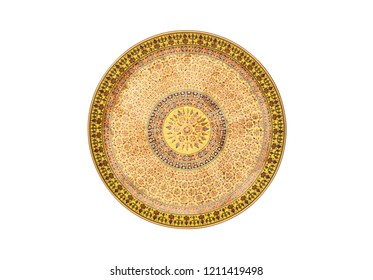 Flat lay (top view) Benjarong porcelain plate or salver, Benjarong ware is a kind of painted Thai ceramics porcelain, Traditional Thai art and handicraft. isolated on white with clipping path.