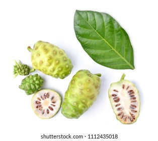 Flat lay (Top view) of Noni or Morinda Citrifolia fruits with sliced and green leaf isolated on white background