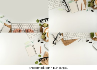 Flat lay, top view office table desk. Workspace with blank note book, keyboard, macaroon, office supplies, green leaf and coffee cup on white background.