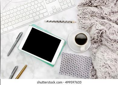 Flat lay, top view office table desk frame. feminine desk workspace