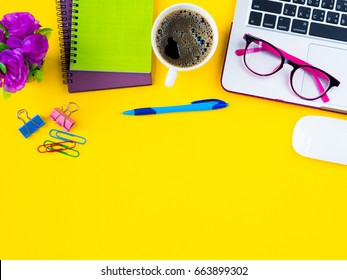 Flat lay top view office table stock photo (edit now) 663899302.