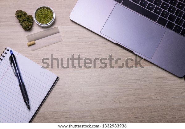 Flat Lay Top View Office Table Stock Photo (Edit Now) 1332983936