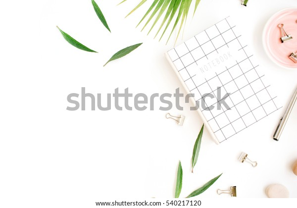 Flat lay, top view office table desk. Workspace with notebook, palm branch and clips on white background.