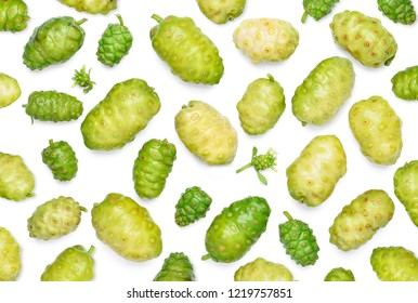 Flat lay (Top view) various of Noni or Morinda Citrifolia fruits pattern texture background (Rubiaceae Noni, great morinda, indian mulberry, beach mulberry, cheese fruit, Gentianales)