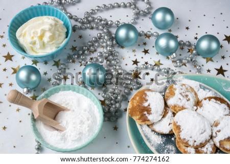 Dutch Christmas Food.Flat Lay Traditional Dutch Food Poffertjes Stock Photo Edit