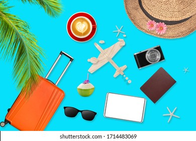 flat lay of trip background