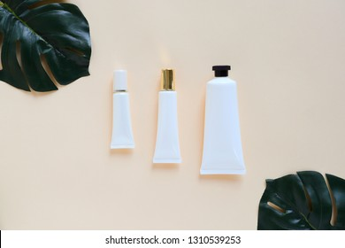 Flat lay of various organic skincare and beauty products for mock up with green leaves in minimal style