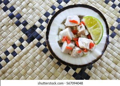 Flat lay view of Fijian Food, Kokoda (Raw Fish Salad). Kokoda is Fiji's version of ceviche, enriched with coconut milk to balance out all the acid.