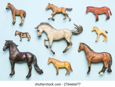 Flat lay view of neatly arranged plastic horse toys