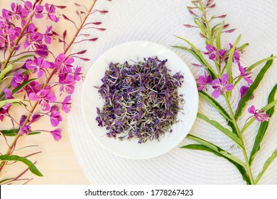 Flat lay view and selective focus on dried Chamaenerion angustifolium( fireweed, great willowherb, rosebay willowherb) with fresh blossoms for decoration. Herbal medicine concept.