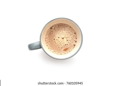 Flat Lay of Flat White coffee in a mug isolated over white background.