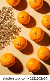 Flat lay with wholesome mandarins and decorative golden twig on beige background