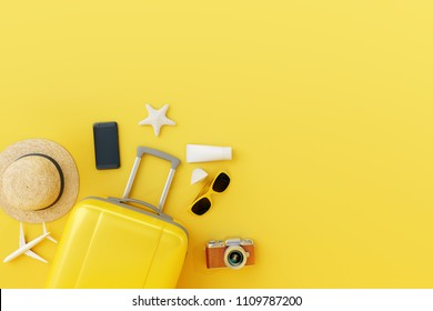 Flat lay yellow suitcase with traveler accessories on yellow background. travel concept