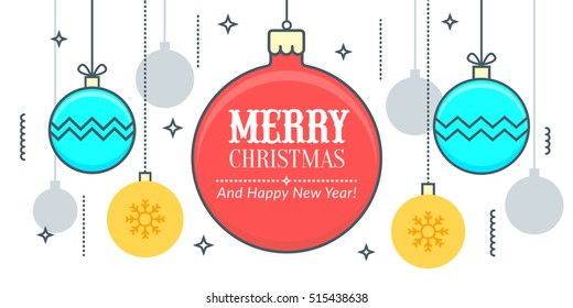 Flat line design illustration Christmas and New Years greeting card. Can be used for several purposes like: websites banners and badges, printed materials.