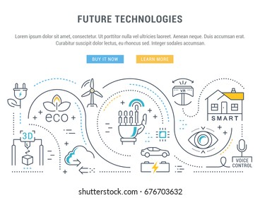Flat line illustration of future technologies. Concept for web banners and printed materials. Template with buttons for website banner and landing page.