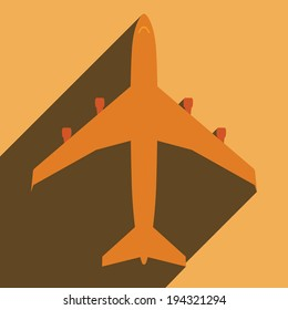 Flat long shadow icon aeroplane for web.
