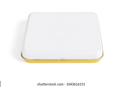 Flat Metal Container on White Background