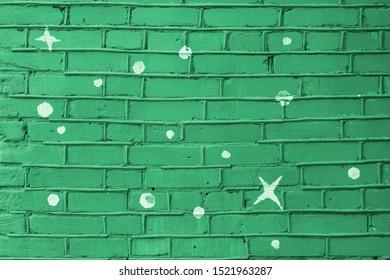 flat mint green color brick wall matte texture.