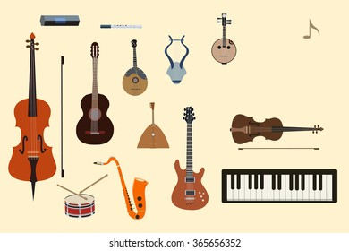 flat music instruments background concept. illustrator design in retro style bright colors