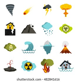 Flat natural disaster icons set isolated illustration