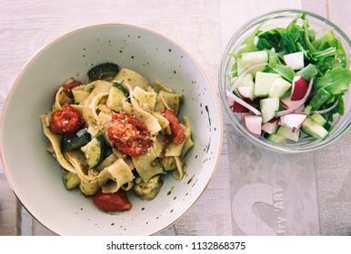 Flat Noodles with Vegetables