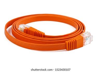 Flat orange ethernet (copper, RJ45) patchcord isolated on white background