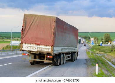 Flat out and damaged wheeler semi truck burst tires by highway street in Rostov region, Russia