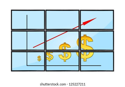 flat panels with dollars chart on screen