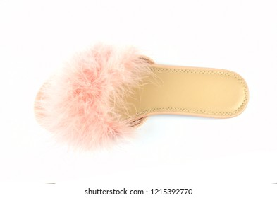 Flat pink feather slipper isolated on white background