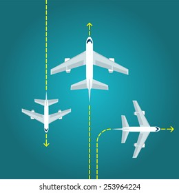Flat planes with yellow lines on blue background